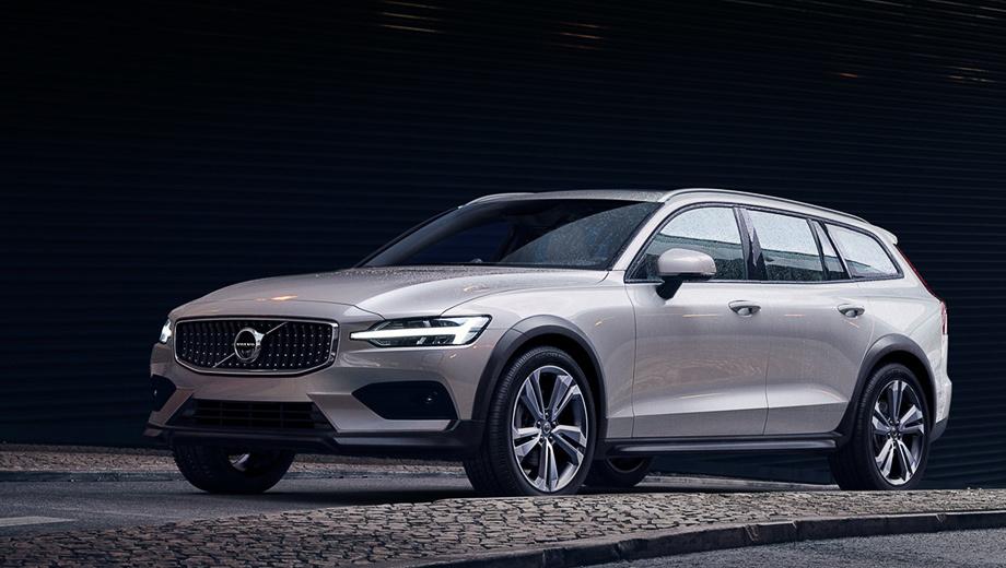 Volvo v60,Volvo v60 cross country. Клиренс увеличен на 75 мм (до 210). Со всех сторон машину опоясывает некрашеный пластик, но, как мы знаем на примере Volvo V90 Cross Country, арки и бамперы в цвет кузова — это недешёвая опция.