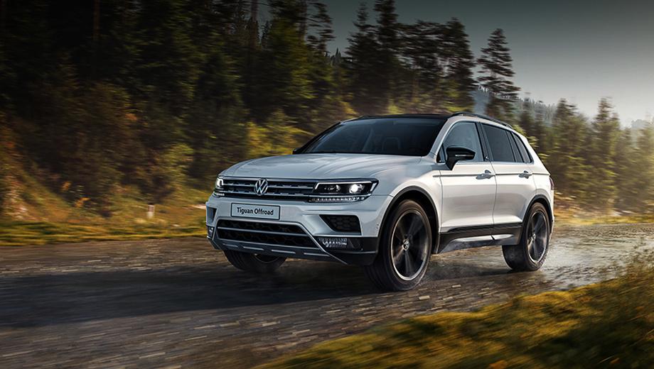 Volkswagen tiguan. Версия Offroad стоит на своих «лапах» на одиннадцать миллиметров выше обычной. Легкосплавные диски Tulsa снабжены шинами размерностью 215/65 R17. В виде опции доступны колёса с посадочным диаметром 18 дюймов.