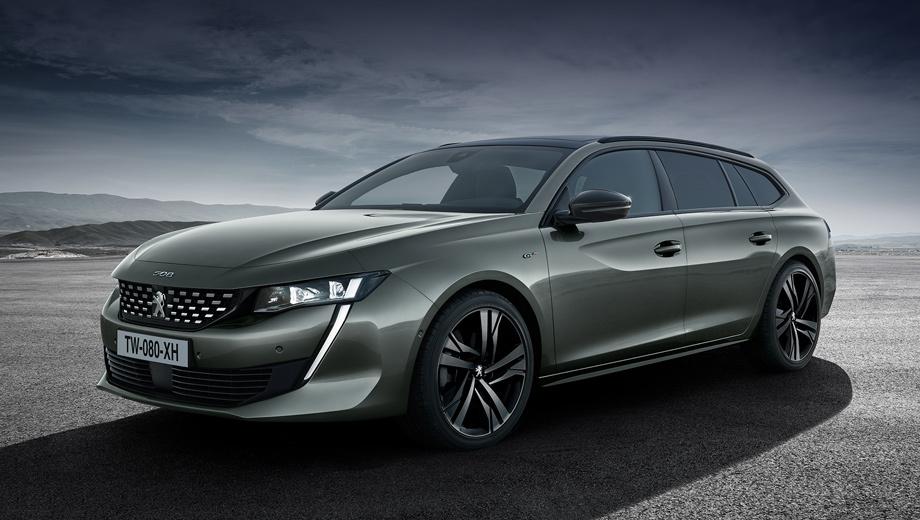 Peugeot 508,Peugeot 508 sw. Анфас First Edition почти точно повторяет ранее показанный вариант универсала, но тут обрамление решётки радиатора — чёрный глянец вместо хрома. А колёсные диски — темнее обычных.