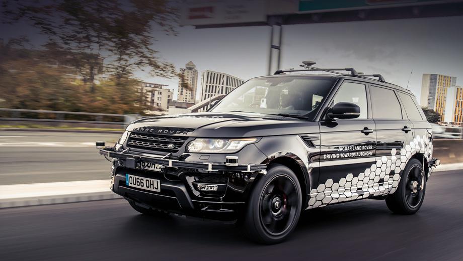 Land rover range rover sport. Надстройка на переднем бампере приютила радар и первый лидар (второй находится на корме). За лобовым стеклом расположена видеокамера, на крыше стоит модуль GPS. К задним колёсам прикручены датчики скорости.