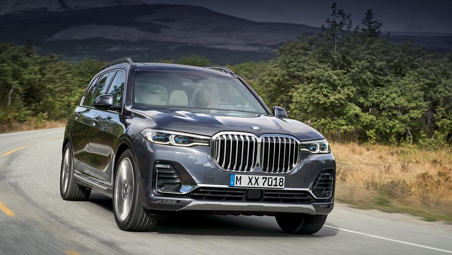 Bmw x7. Светодиодные фары и 20-дюймовые колёса входят в стандартное оснащение, так же как пневмоподвеска и электронноуправляемые амортизаторы. В виде опций будут лазерная оптика BMW Laserlight, полноуправляемое шасси, легкосплавные диски диаметром 21 и 22 дюйма.