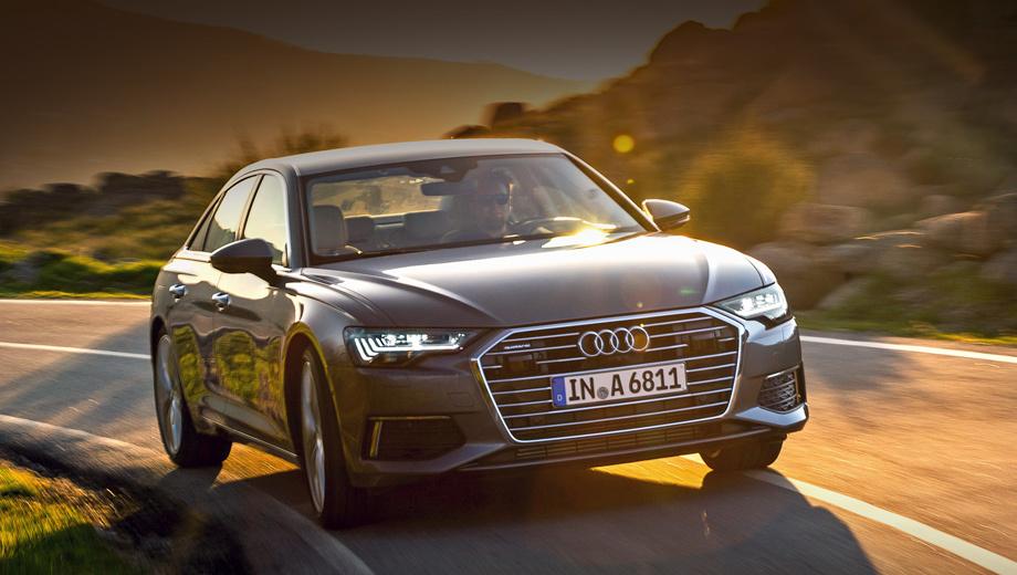 Audi a6. Модификация 55 TFSI комплектуется полным приводом quattro ultra с муфтой вместо дифференциала Torsen, а также микрогибридной системой с 48-вольтовым стартер-генератором. Разгон до сотни длится 5,1 с. После 250 км/ч срабатывает ограничитель.