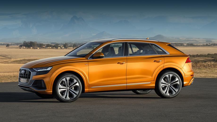 Audi q8. Напомним, что «ку-восьмая» насчитывает в длину 4986 мм, то есть на 66 мм короче Q7, однако Q8 на 27 мм шире и в модельном ряду занимает более высокое положение (отсюда и индекс).