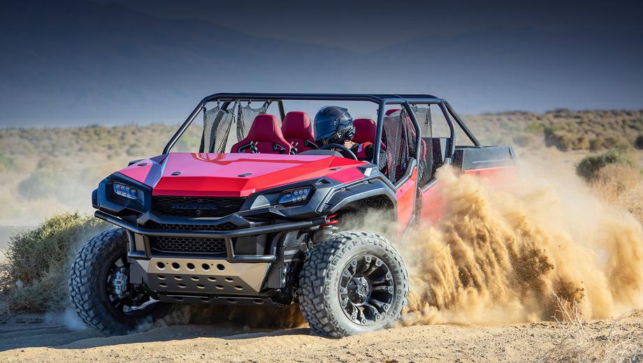 Honda rugged open air. Автомобиль внешне напоминает мотовездеходы, но на деле крупнее них. По сути, это всё же «раздетый» среднеразмерный пикап с нарочито грубоватым дизайном, вызывающим ассоциации с квадроциклами.