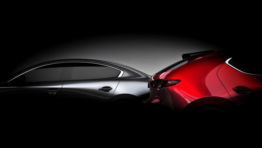 Mazda 3. Очевидно, тизер призван донести простую мысль — хэтчбек и седан дебютируют одновременно. Почему в Америке? Там в 2017 году было продано 75 018 «матрёшек», в Европе — 43 794.