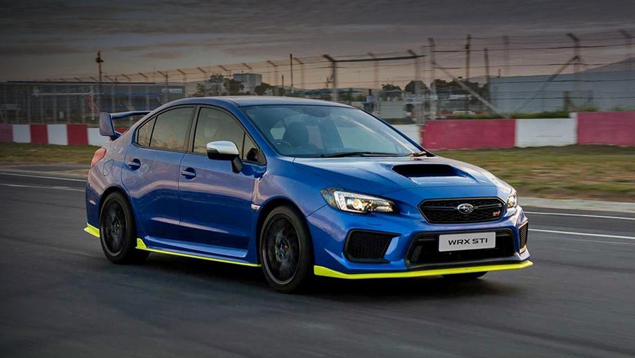 Subaru wrx sti. Использовав проставки на всех колёсах, мастера расширили колею на 20 мм. Передняя подвеска занижена на 10 мм. Новый обвес «по кругу» окрашен в тот же жёлтый колер High Viz, что и тормозные суппорты. Образ дополняют 19-дюймовые диски Y-design с шинами 245/35 R19 (на фото не они).