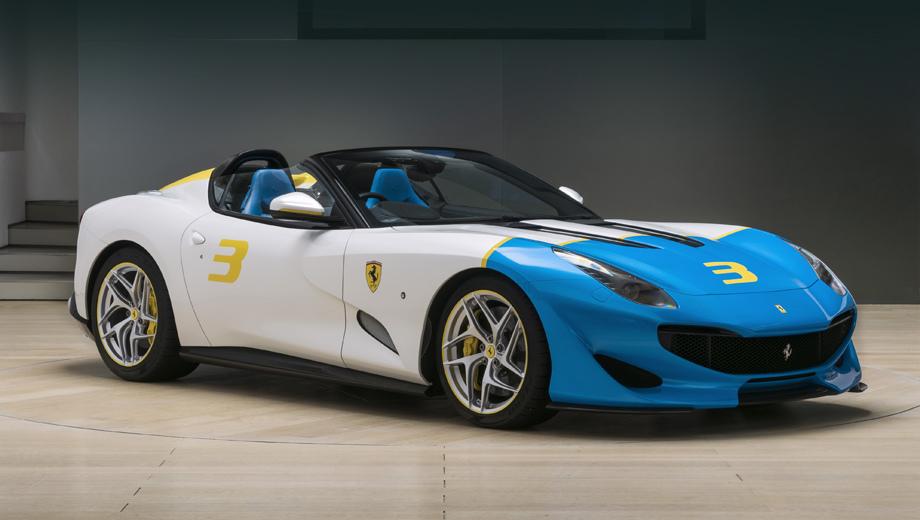 Ferrari sp3jc. Как объясняет производитель, яркая графика на кузове обусловлена тягой заказчика к поп-арту. Здесь использована комбинация цветов Bianco Italia (белый с намёком на серебро), Azzurro Met (синий) и Giallo Modena (жёлтый).