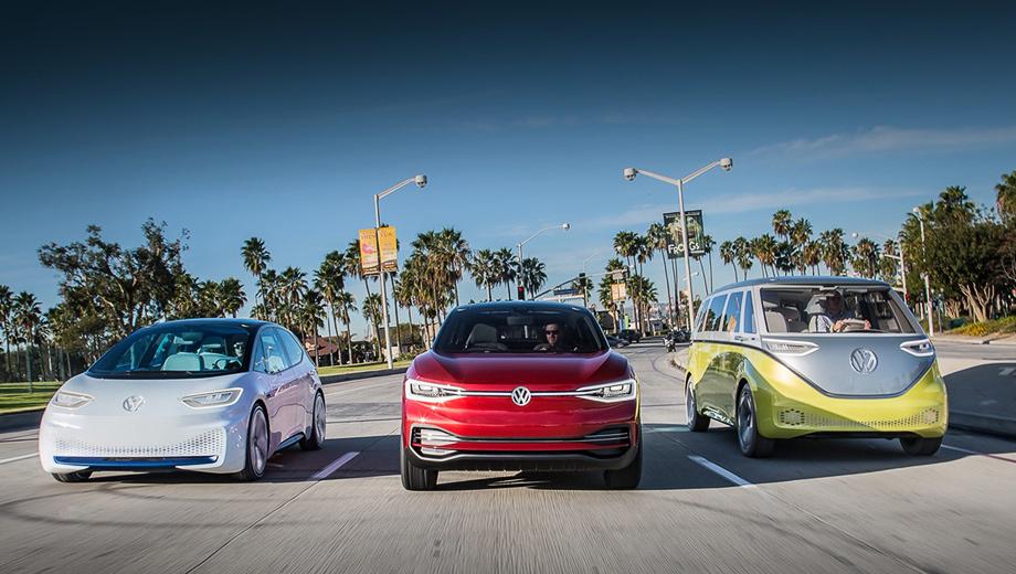 Volkswagen id,Volkswagen concept,Volkswagen id lounge. Информация о том, что хэтчбек I.D. (на фото крайний слева), первенец в семье, получит имя Neo, — не подтвердилась. Это лишь внутреннее рабочее название. Паркетник I.D. Crozz (в центре) выйдет в двух версиях: Coupe и «некупе». Вэн I.D. Buzz (справа) недавно стал Cargo.