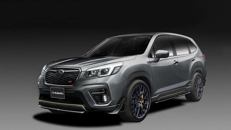 Subaru forester,Subaru forester sti,Subaru impreza,Subaru impreza sti,Subaru concept. Четыре года назад Forester уже примерял шильдики STI, но новейшая интерпретация выглядит внушительнее. Свой вклад внесли эксклюзивный цвет Fighter Grey, 19-дюймовые колёса и «золотые» шестипоршневые суппорты Brembo.