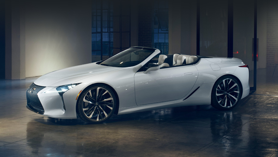 Lexus lc,Lexus lc convertible,Lexus concept. Производитель в описании шоу-кара делает упор не на технику, а на облик «вдохновляющего гало-автомобиля для всей линейки Lexus». Он, якобы, и сохранил черты купе, и приобрёл свои, неповторимые.
