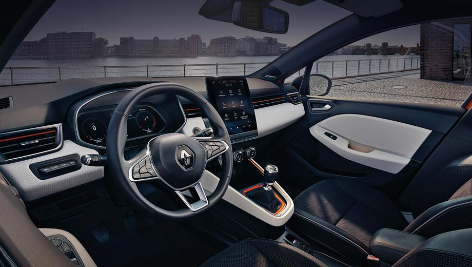 Renault clio. Салон обозначен «по-умному», как Smart Cockpit. Торчащий по центру вертикальный дисплей диагональю 9,3 дюйма («в базе» лишь семь) — самый большой в сегменте и крупнейший среди всех экранов, что ставятся на модели Renault (у флагмана 8,7 дюйма).