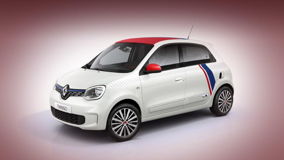 Renault twingo. Красные и синие полосы на белом фоне, нанесённые на борта, крышу, решётку радиатора и задний бампер, да нарядные колёсные диски — то немногое, что привлекает внимание к этой версии на фоне обычных Twingo.
