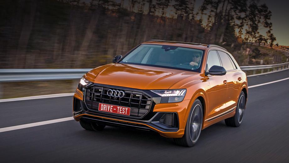 Audi q8. Цены известны с октября 2018-го: от 5,1 млн рублей за Q8 55 TFSI quattro с двигателем V6 3.0 (340 л.с.). Иных модификаций пока нет, но трёхлитровый турбодизель (249 сил, 600 Н•м) включён в ОТТС. Конфигуратор позволяет набрать допов ещё на пять миллионов.