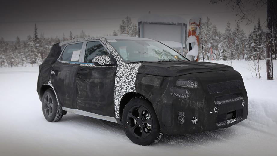 Kia tusker. Это фото сделано в феврале во время тестов где-то за полярным кругом. Папарацци указывают, что Tusker построен на той же платформе, что и субкомпакт Hyundai Styx (он же QXi, Leonis, Carlino, HND-14), и имеет те же размеры. Спорное утверждение. По идее, Tusker унифицирован с Кретой.