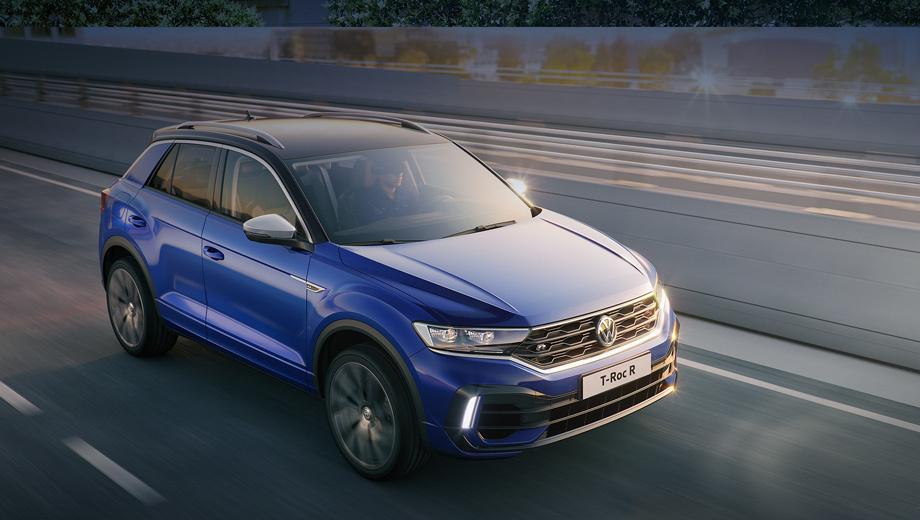 Volkswagen t-roc,Volkswagen t-roc r. Максималка новой модели по традиции ограничена на уровне 250 км/ч, но кого это волнует, когда здесь можно выбрать гоночный режим настроек и даже отключить систему стабилизации. Наличие лонч-контроля в этом сегменте тоже необычно.