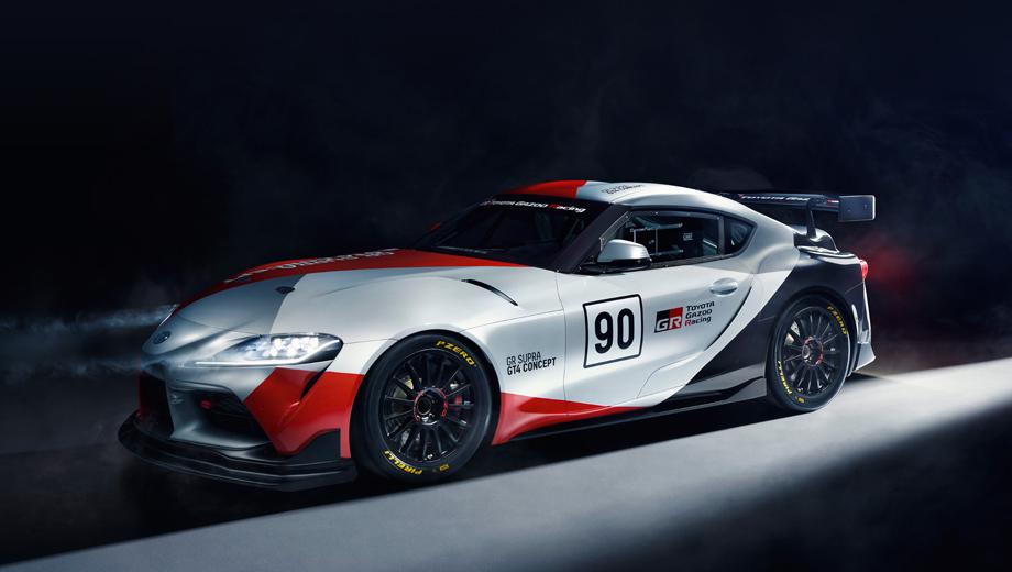 Toyota supra,Toyota gr supra gt4 concept,Toyota concept. Автомобиль предвещает модификацию для гонок в классе FIA GT4, которую компания могла бы продавать частным гонщикам и сторонним командам для участия в соревнованиях.