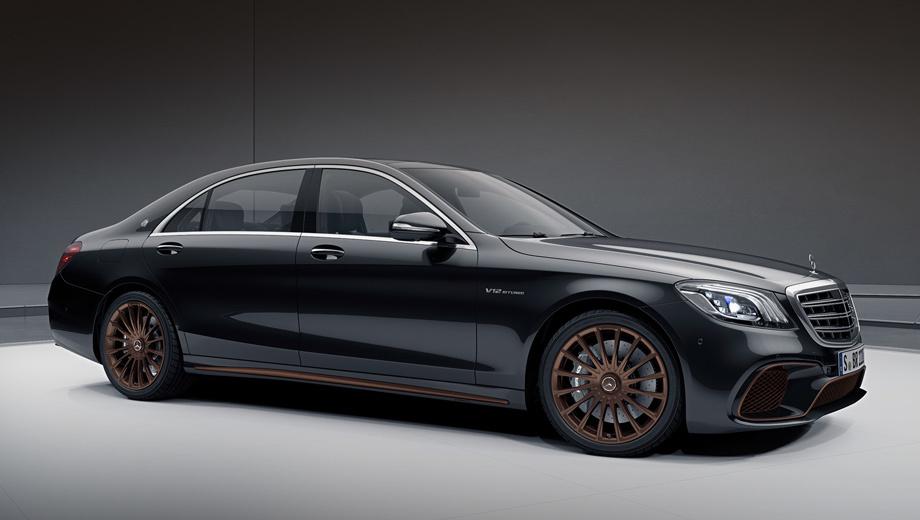 Mercedes s,Mercedes s amg. Финальная четырёхдверка будет доступна исключительно в глянцево-чёрном цвете с акцентами из «матовой бронзы». Особый статус подчёркивают 20-дюймовые колёса и эмблемы AMG на задних стойках. К машине прилагается чехол с надписью AMG S 65 Final Edition.