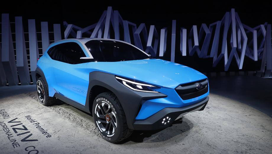 Subaru viziv adrenaline. Накладки на арки считаются защитными кожухами. Уникальная конструкция крыши будто бы усиливает структуру кузова. Белые акценты на колёсах отмечают уличного забияку, а всё вместе выражает прочность и проворство. О необычной оптике, как ни странно, не сказано ни слова.