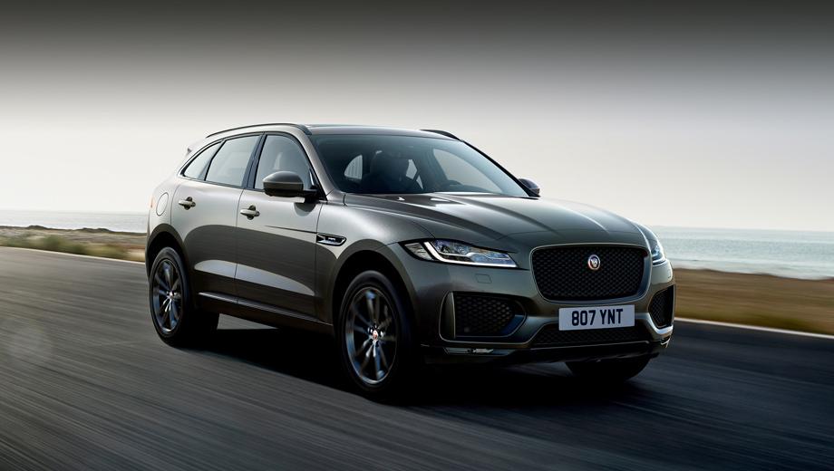 Jaguar f-pace. Версия Chequered Flag демонстрирует спортивный передний бампер и глянцево-чёрные решётку радиатора, боковые воздухозаборники, накладки на двери и рейлинги. Кузов может быть окрашен в цвета Yulong White, Santorini Black и новый оттенок Eiger Grey.