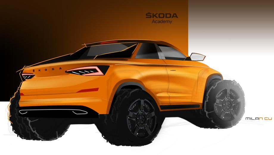 Skoda kodiaq,Skoda concept. Авторы концепта задумали двухдверный автомобиль с крупными колёсами и выразительными рельефными формами. Они решили показать, что исходная оболочка Кодиака оставляет массу возможностей для творческой реализации.