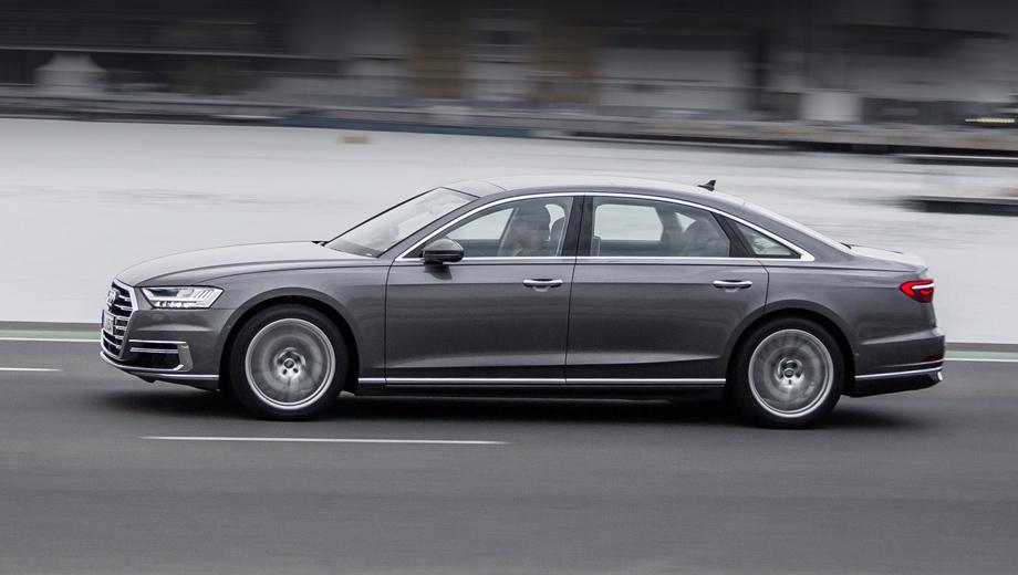 Audi a8. Восьмиступенчатый «автомат» tiptronic и полный привод модели положены по умолчанию. Номинальный расход топлива у дизельной версии равен 6,6 л/100 км, а ускорение с нуля до ста занимает у неё 6,5 с.