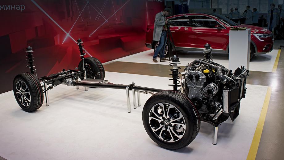 Renault arkana. Визуально шасси напоминает «тележку» нынешнего Дастера, но в реальности это компоненты новой безымянной платформы, которая станет основой в том числе и для российской версии нового Дастера. У Арканы самая длинная база в семействе — 2727 мм (2720 для переднего привода).