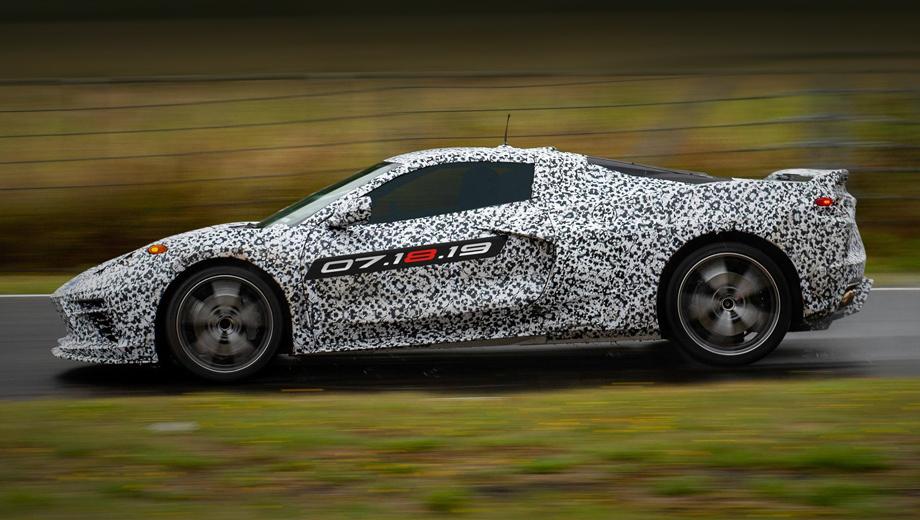 Chevrolet corvette. Шпионской съёмки нового Корвета было уже предостаточно, а на нашем заглавном снимке — «шпионский» тизер от самой компании Chevrolet.