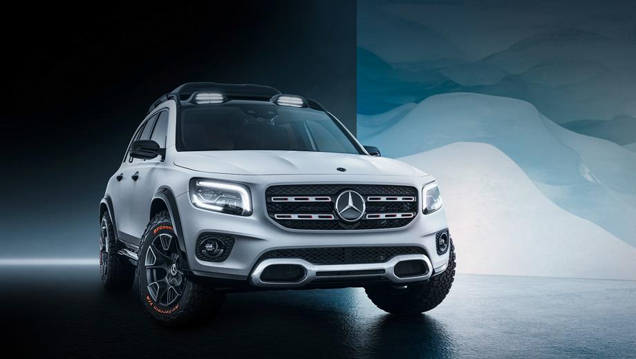 Mercedes glb,Mercedes concept. Концептуальная тут только внедорожная атрибутика: светодиодные прожекторы и рейлинги на крыше, зубастые шины BFGoodrich All Terrain и 17-дюймовые диски двухцветного дизайна.