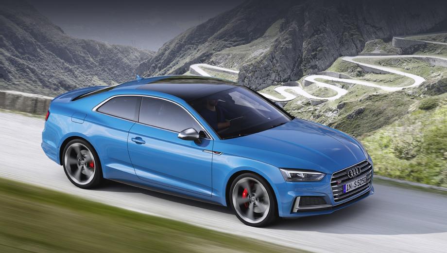 Audi s5,Audi s5 sportback. Дизельные S5 оснащены восьмиступенчатым «автоматом» tiptronic и полным приводом на основе центрального самоблокирующегося дифференциала, делящего в обычных условиях тягу в пропорции 40:60. При неравномерном сцеплении с дорогой вперёд может подаваться до 70%, а назад — до 85% тяги.