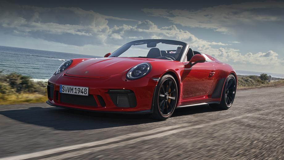 Porsche 911,Porsche 911 speedster. Перед нами первый Speedster, созданный в отделе Porsche Motorsport. Предшественник из поколения 997.2 был основан на кабриолете с компонентами от купе 911 GTS, а нынешняя модель отталкивалась от ориентированной на трек версии GT3 (кстати, оба бампера копируют её один в один).