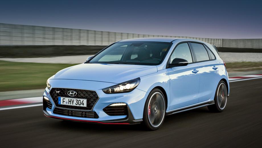 Hyundai i30,Hyundai i30 n. Пакет Performance включает дифференциал с электронной блокировкой, выпуск с переключаемым клапаном, тормозные диски на 18 и 17 дюймов (вместо 17 и 16), 19-дюймовые колёса. В итоге «опциональный» i30 N быстрее разменивает сотню: 6,1 с против 6,4. Максималка неизменна — 250 км/ч.