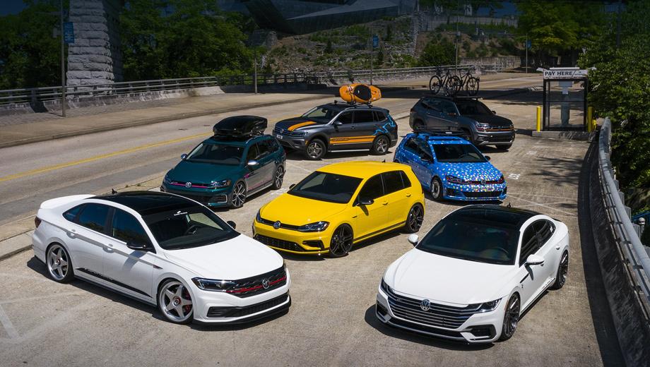 Volkswagen atlas,Volkswagen golf gti,Volkswagen arteon,Volkswagen golf alltrack,Volkswagen golf r,Volkswagen jetta. Автомобили были показаны публике в минувшие выходные. Они проедут со своеобразным туром по ряду штатов и будут экспонироваться в семи городах в июле, августе и сентябре.