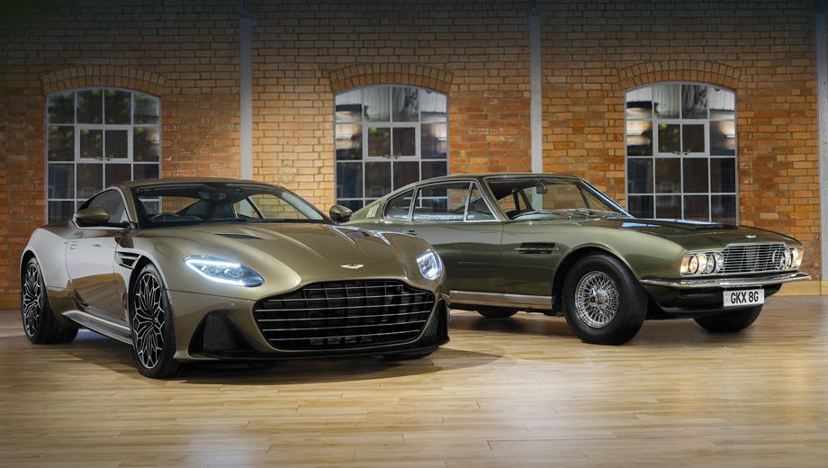 Aston martin dbs. Как и модель Aston Martin DBS, снявшаяся в кино (на фото справа), купе DBS Superleggera окрашено в оливковый цвет. Сетчатая решётка заменена на шесть горизонтальных планок, сближающих внешность машин. Один из признаков спецверсии — уникальные кованные колёса.