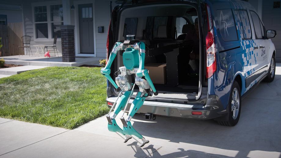 Ford digit. Робот помещается в сложенном виде в грузовом отсеке машины.  Сам выгружается, прибыв на место, затем берёт коробку и относит её на порог дома.