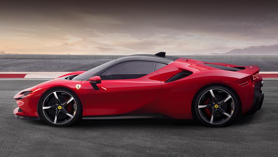 Ferrari sf90 stradale. Длина, ширина, высота модели равны 4710, 1972, 1186 мм, колёсная база — 2650 мм. Сухая масса равна 1570 кг.