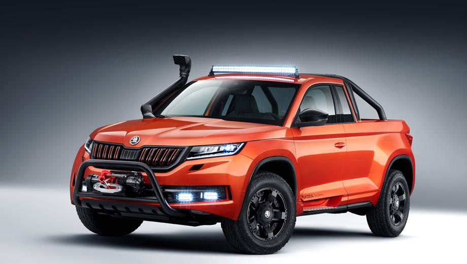 Skoda kodiaq,Skoda mountiaq,Skoda concept. Агрессивный облик подчёркивают шноркель и кенгурятник, 17-дюймовые колёса Rockstar II с внедорожными шинами и особая окраска Sunset Orange, на фоне которой особенно выделяются чёрные детали автомобиля.