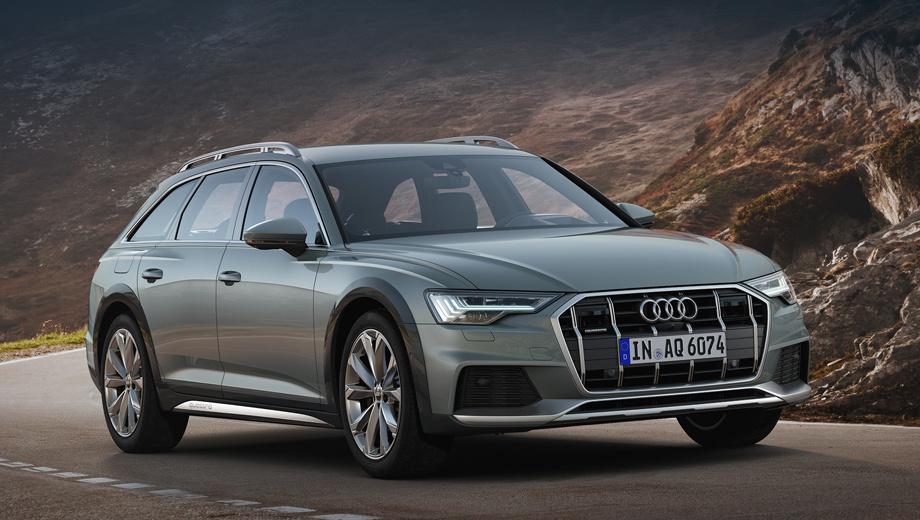Audi a6 allroad. Перепутать allroad с обычным Audi A6 Avant не позволят решётка с алюминиевыми планками, боковой пластиковый обвес (чёрный глянец или в цвет кузова), бамперы с защитными пластинами, броские рейлинги. Размерность шин по умолчанию — 225/55 R18, но есть опциональные колёса на 21 дюйм.