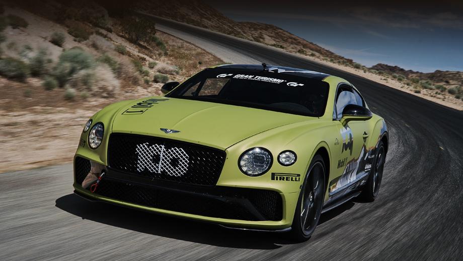 Bentley continental gt. Надежда Bentley зиждется на двух главных факторах: моторе W12 6.0 с отдачей в 635 л.с., 900 Н•м и на огромном опыте Миллена, который поведёт это купе. Машина получила стартовый номер 100 в честь столетия Bentley и изображение Пайкс-Пика на кузове.