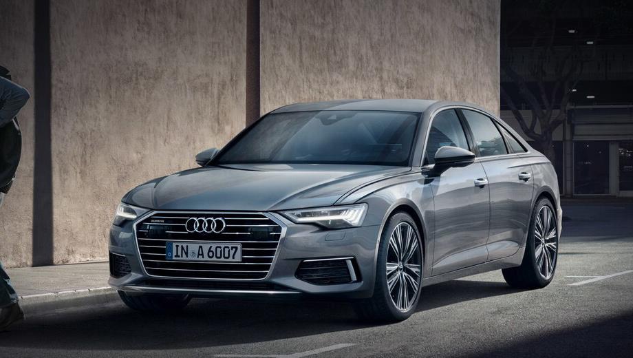 Audi a6. Модификация разгоняется до сотни за шесть секунд ровно и расходует в смешанном цикле 6,8 л/100 км. За умеренный аппетит можно поблагодарить гибридную систему MHEV с 48-вольтовым стартер-генератором и литиево-ионной батареей.