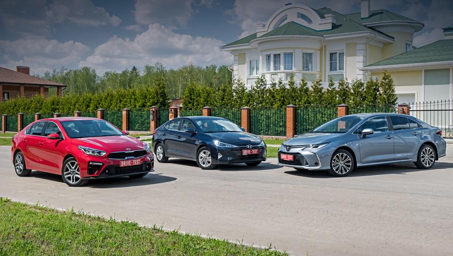 Toyota corolla,Kia cerato,Hyundai elantra. Самая доступная Elantra 1.6 (128 л.с.) с «механикой» стоит 1 049 000 рублей, на 86 тысяч дешевле простейшего Cerato с таким же мотором за 1 134 900. Базовая Corolla 1.6 (122 л.с.) оценена в 1 173 900.