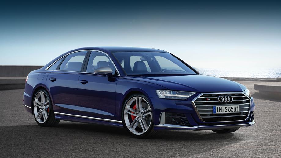 Audi a8,Audi s8. Переработанный бампер с алюминиевым декором, зеркала того же цвета и дизайнерские 21-дюймовые колёсные диски выделят эту модификацию из ряда простых A8.