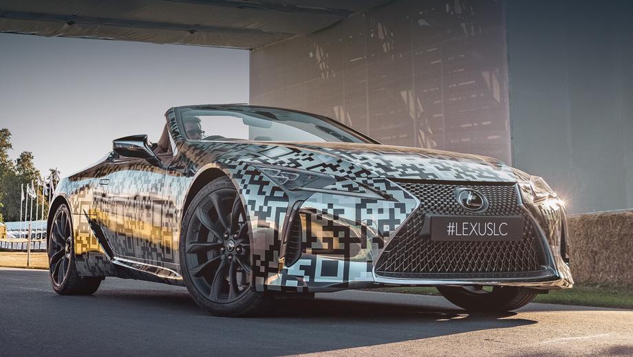 Lexus lc,Lexus lc convertible. Отличий от шоу-кара мало, и они едва заметны. Например, воздуховоды в «слезах» под фарами закрыты решётками, корпуса боковых зеркал выполнены изящнее, «утиный хвостик» на корме ярче выражен.
