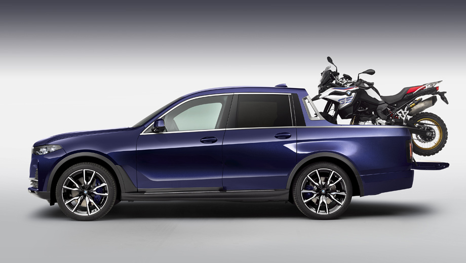 Bmw x7,Bmw x7 pick-up,Bmw concept. За основу для шоу-кара была взята модификация X7 xDrive40i с трёхлитровой «шестёркой» (340 л.с., 450 Н•м).