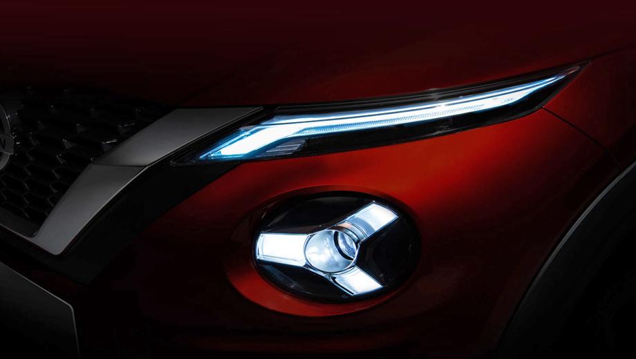 Nissan juke. Высветленный тизер показывает решётку радиатора с чем-то, напоминающим ромбики (часть сетки), и двухэтажную оптику — ещё более радикальное развитие идеи предшественника.