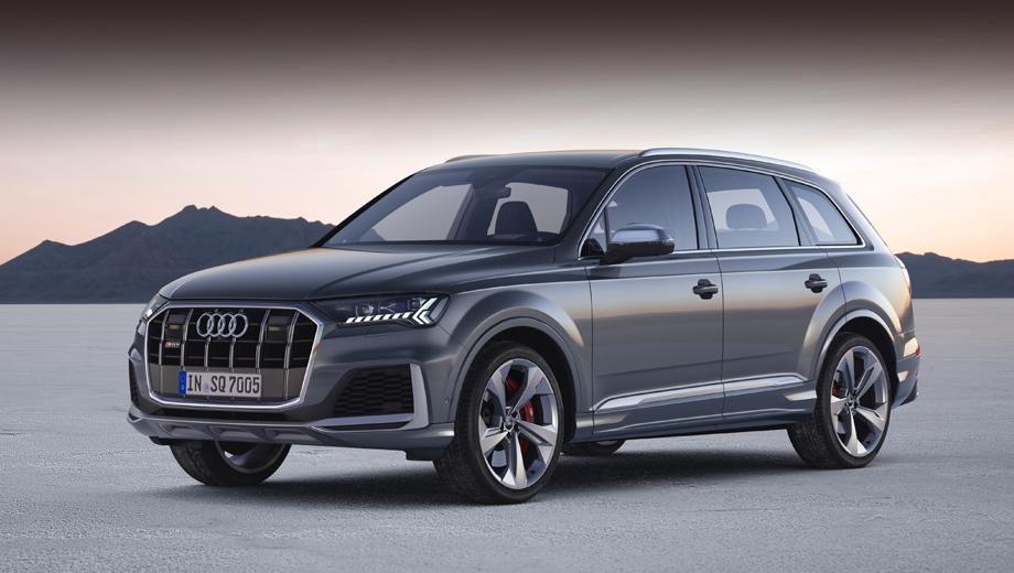 Audi sq7. Издали SQ7 легко спутать с Q7 — настолько близко оформление передней части. Верные признаки SQ7 (кроме шильдиков) — сдвоенные вертикальные планки решётки радиатора (как у SQ8) вместо одинарных и корпуса зеркал в декоре «под алюминий», а не в цвет кузова, как на простых «ку-седьмых».