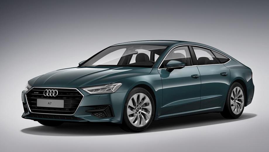 Audi a7,Audi a7 sportback. Обыскавшись снимков версии 45 TFSI, мы собрали её в конфигураторе на российском сайте Audi. Вся оптика светодиодная. Доплата за зелёный «металлик» Avalon Green — 70 148 рублей. За 18-дюймовые кованые диски «10 рукавов Turbine» доплачивать не нужно.