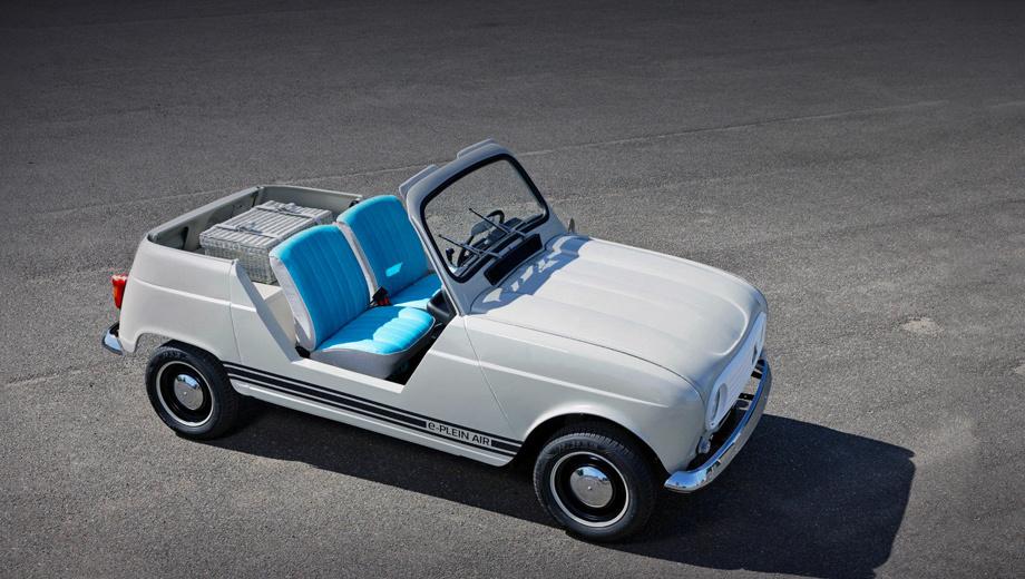 Renault e-plein air. Отделение Renault Classic не могло перекраивать оригинальный Plein Air, ведь всего было построено около 500 «пленэров», а до наших дней дожили немногие. Так что в основу лёг стандартный хэтч.