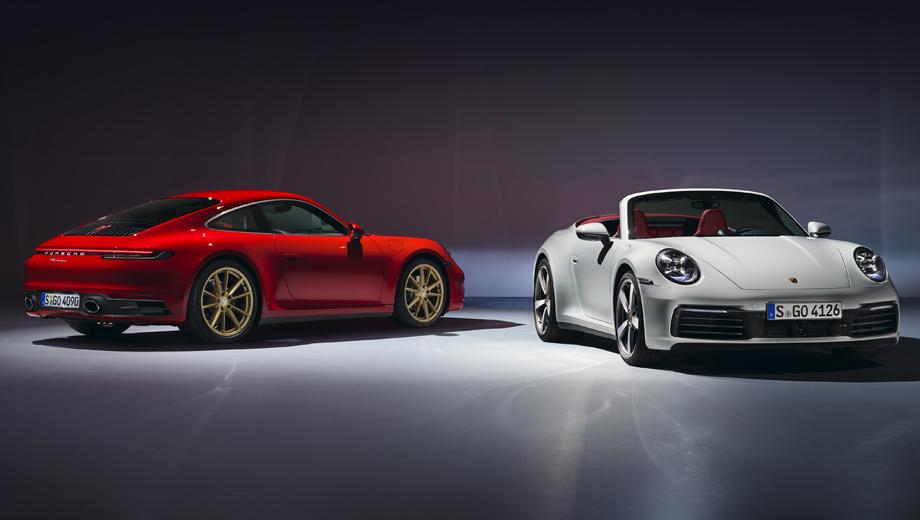 Porsche 911,Porsche 911 cabrio. Внешне «просто» Карреры почти идентичны Каррерам S. Знатоки приметят колёсные и тормозные диски. Здесь они меньше, чем в «эсках». Колёса: 19/20 дюймов (спереди/сзади) против 20/21 на Каррерах S. Тормозные диски: 330 мм с четырёхпоршневыми моноблоками против «керамики» на 410/390 мм с шести- и четырёхпоршневыми на Каррерах S.