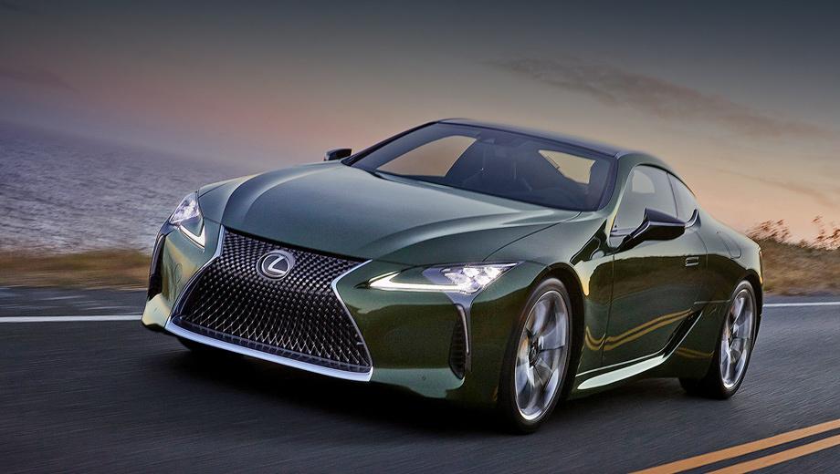 Lexus lc. Эксклюзивный оттенок зелёного Nori Green Pearl говорит о  стремлении создать «более утончённое, зрелое купе», ни от чего при этом не отказываясь. О том же свидетельствуют двухцветные колёсные диски диаметром 21 дюйм.
