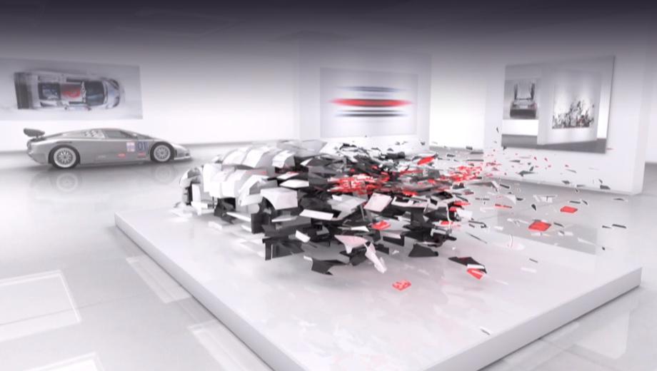 Bugatti eb110,Bugatti centodieci. Компания заставляет публику напрягать воображение, распространяя такие тизеры. На заднем плане — исторический прообраз.